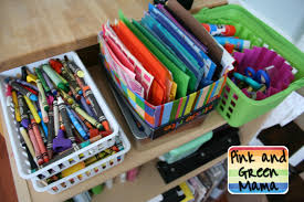 Art And Craft Studio Pink And Green Mama Organizing Paper In The Art Studio And