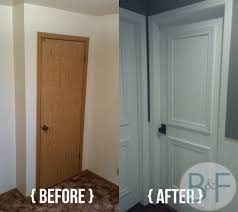 hollow core door makeover with paint trim and new knobs bronco