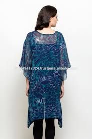 Blue Leopard Print by Ladies Animal Print Chiffon Kaftan Ladies Evening Wear Kaftan