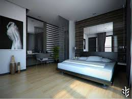gorgeous bedroom design with wooden floor also mirror headboard