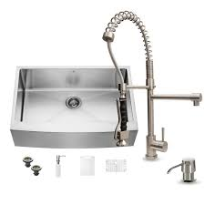 Kitchen Sink With Faucet Set Vigo All In One Farmhouse Apron Front Stainless Steel 33 In 0