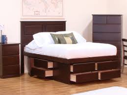espresso full size platform bed with storage with multiple drawer