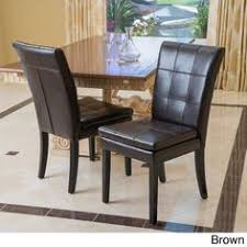 Overstock Dining Room Chairs by Christopher Knight Home Jackie Brown Leather Accent Dining Chair