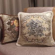 aliexpress com buy chenille fabric jacquard embroidered cushion