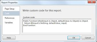 reporting services   SSRS expression replace NULL with another