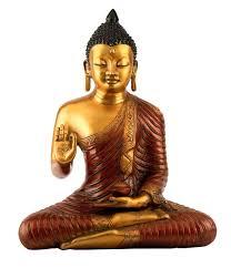 1 2 ft tall debating teaching buddha in brass unique feng shui