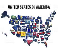 Map Of America With States by 3d Map United States Of America With All State Flags Stock Vector