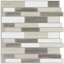 shop peel u0026stick mosaics beige mist linear mosaic composite wall