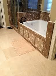 Bathroom Tile Installation by Marfil And Light Emperador Marble Tile Installation In Master Bath