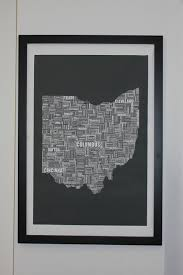 Van Wert Ohio Map by Ohio Typography Map Canvas Poster 24x36 Unframed Or Stretched