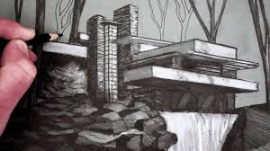 how to draw a house draw fallingwater youtube