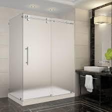 Interior Frameless Glass Door by Frosted Frameless Bypass Sliding Shower Doors Showers