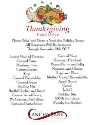 inspirational thanksgiving the items requested for donation were a collection of ingredients