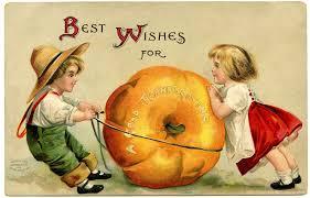 vintage thanksgiving image cute kids with pumpkin vintage