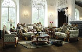 Livingroom Sets Russia Style Flower Pattern Design Fabric Sofa Sets Living Room