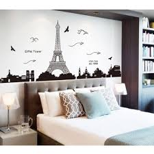 wonderful paris themed bedroom with floral black and white bedding