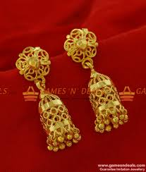 Indian Flower Design Traditional Bird Cage Flower Design Jhumki South Indian Ear Rings