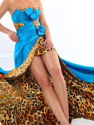Blue Leopard Print by Blue Satin And Leopard Print Strapless Bow Embellishment High Low