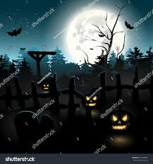 scary graveyard night halloween background stock vector 147000296