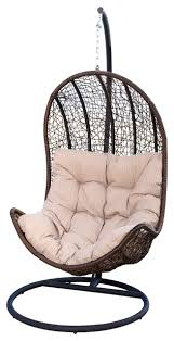 newport outdoor brown wicker egg shaped swing chair tropical