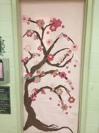 spring classroom door japanese cherry blossom tree classroom