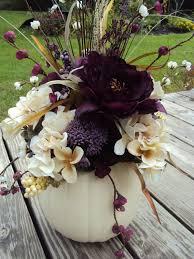 Halloween Wedding Save The Date large elegant purple floral white pumpkin table centerpiece
