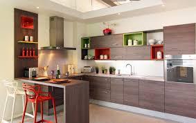 Masters Kitchen Designer by Cuisine Tendance Design Bois Foncé Avec Cube De Couleur Modulable