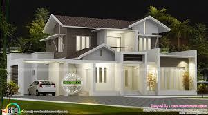 beautiful 2100 sq ft modern sloping roof home kerala home design