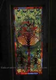 stained glass door film tree of life transparent faux privacy stained glass clings and