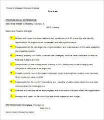 Financial Resume Sample by Financial Manager Resume 7 Free Word Excel Pdf Format