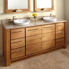 bahtroom white twin wash basin on cool teak bathroom cabinets on