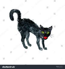 watercolor drawing black angry cat cartoon stock illustration