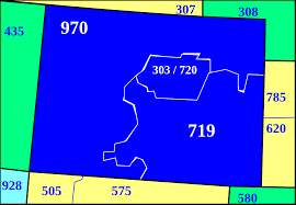 Map Of Colorado And Surrounding States by List Of Colorado Area Codes Wikipedia