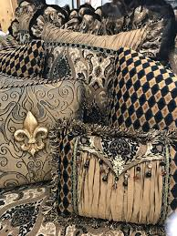 Eastern Accents Window Luxury Decorative Accent Pillows In Bronze Gold Black Paisley