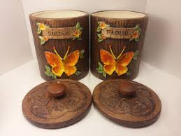 Country Canister Sets For Kitchen Vintage Treasure Craft Kitchen Ceramic Canister Set With Hand