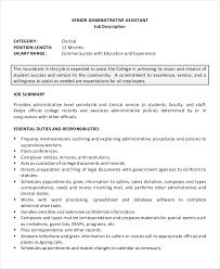 Secretary Job Description For Resume by 10 Senior Administrative Assistant Resume Templates U2013 Free Sample