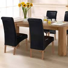kitchen chairs black leather cushioned seat dining room chair