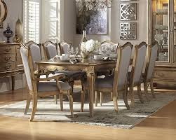 1828 92 9pcs champagne gold wood leaf dining table set faux silk chair