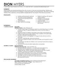 Skill Set Resume Examples by Unforgettable Babysitter Resume Examples To Stand Out