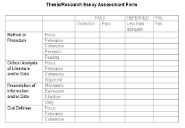 Thesis Evaluation Guide Overall Performance