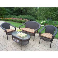 Wicker Patio Oakland Living Elite Resin Wicker 4 Piece Patio Seating Set With