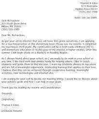 Sample Application Letter For A Teacher   Cover Letter Templates Job Letter As A Teacher