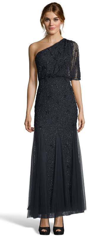 Adrianna Papell Plus Sequined One-Shoulder Evening Dress Navy 16W