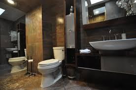travertine stone bathroom designs brown chair white tile black