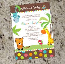 colorful safari animals baby shower invitations gender
