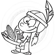 thanksgiving and indians cartoon indian boy with corn black u0026 white line art by ron