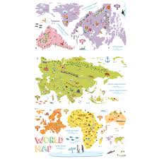 Kids World Map The World Map Wall Stickers
