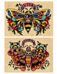 Old School Tattoo VIDA Bee Lady and MUERTE Skull by illustratedink