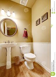 small bathroom with white wall trim stock photo image 44363947