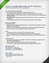 sales clerk functional resume example